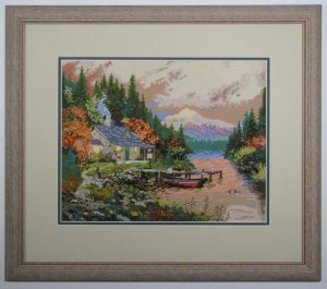 needlework-Thomas-Kinkade-image-framed